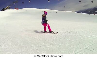 Snowboard action - Beautiful full HD action video footage of...