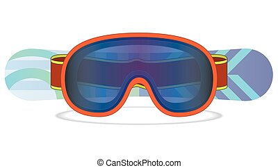 snowboard and goggles - snowboard goggles with snowboard in...