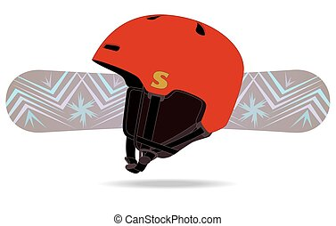 snowboard and helmet - snowboarding helmet with snowboard in...