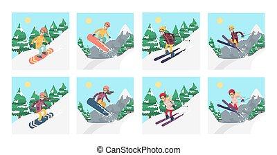 Snowboard and ski.