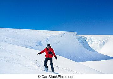 snowboard, bewegt, mann