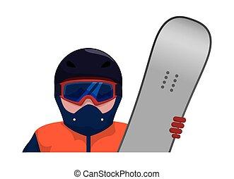 snowboard, caractère, athlète, icône