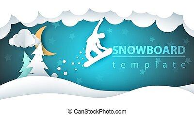 Snowboard cartoon paper landscape. Fir, moon, winter, flakes.