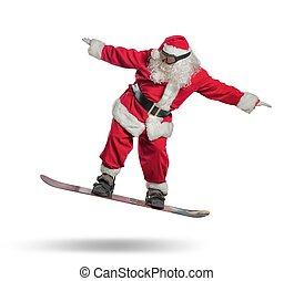 snowboard, claus, kerstman