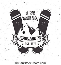 Snowboard Club. Vector illustration. Concept for shirt, print, stamp or tee.