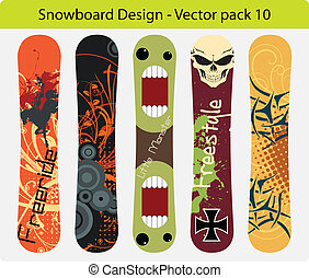 snowboard design pack 10 - Vector pack of five snowboard...