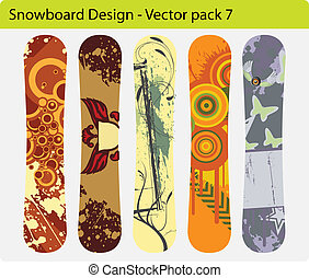 snowboard design pack 7 - Vector pack of five snowboard ...
