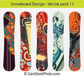 snowboard, design, satz, 11