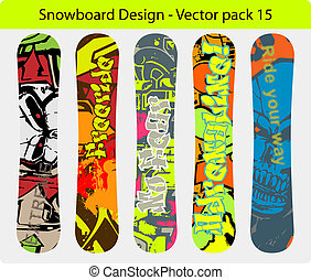 snowboard, design, satz, 15