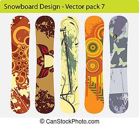 snowboard, design, satz, 7