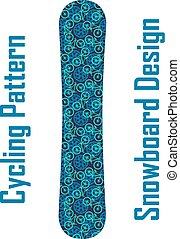 Snowboard design vector with cycling theme pattern