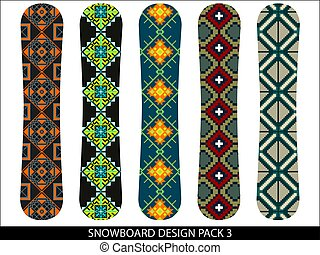 Snowboard designs vector pack with geometric patterns