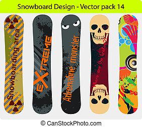 snowboard, disegno, 14, pacco