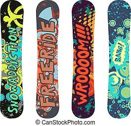 snowboard, disegno, pacco