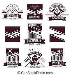 snowboard, en, bergen, emblems