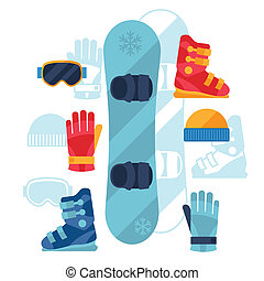 Snowboard equipment icons set in flat design style.
