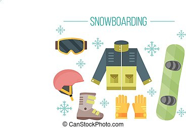 Snowboard equipment- jacket, boots, helmet, goggles, gloves