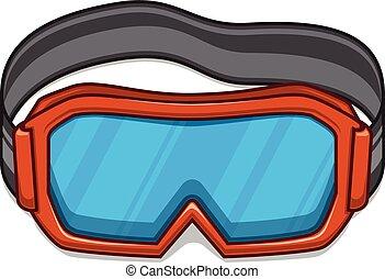 snowboard, esqui, goggles.