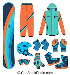 snowboard. Extreme winter sports. - Snowboard equipment or...