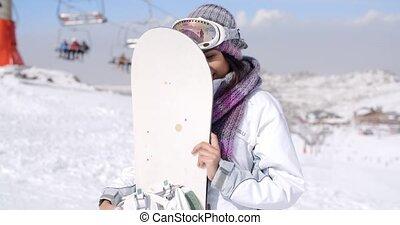 snowboard, femme, jeune, elle, rire