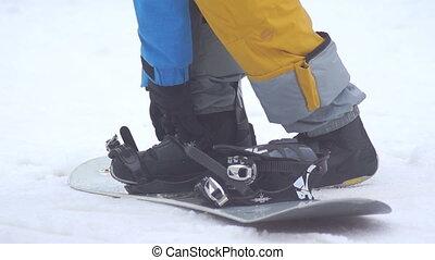 snowboard, fest, ski- aufladungen