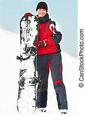 snowboard, frau, glücklich
