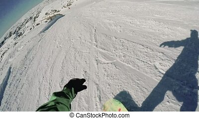 Snowboard freerider in the mountains.