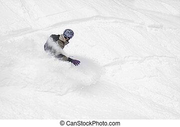 Snowboard freerider, winter snow extreme