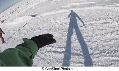 Snowboard freeriders in the mountai