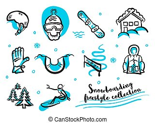Snowboard freestyle collection icon set