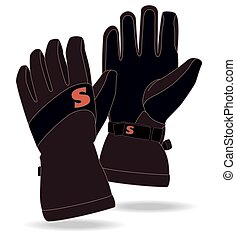 snowboard gloves isolated on a white background
