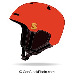 snowboard helmet - snowboard red helmet isolated on white...