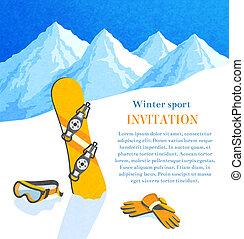 snowboard, hiver, invitation