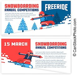 Snowboard horizontal flyers, invitations, tickets. Two design options - with snowboarder man and girl.
