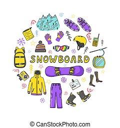 snowboard, ikony