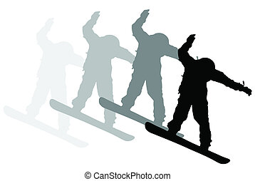 Snowboard - Illustraion of snowboarder in action on white...
