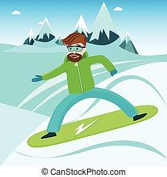 snowboard, jeździec, z, góry, w, przedimek określony przed rzeczownikami, tło.