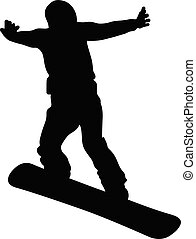 snowboard jump and flying