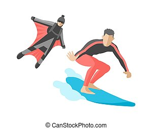 Snowboard jumping extreme athletes silhouettes illustration life set speed skydiver wakeboard surfing flyboard skydiving adrenaline flying