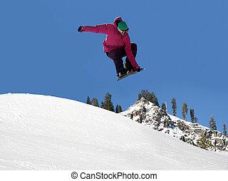 Snowboard jumping