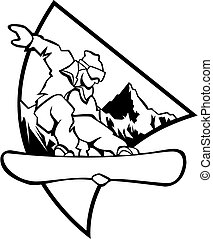 Black and white computer generated illustration: jumping snowboarder upon a mountain background- Logo style