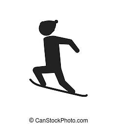 Snowboard man hat winter sport snow icon. Vector graphic