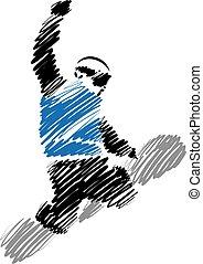 snowboard man vector illustration
