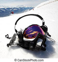 snowboard, maske
