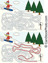Snowboard maze for kids with a solution