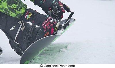 snowboard, mit, stiefeln, weiß, hintergrund, winter