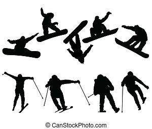 snowboard, narta, skoczki