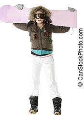 Snowboard on shoulders