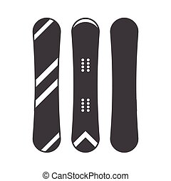 Snowboard Outline Monochrome Icon - Snowboard icon in...