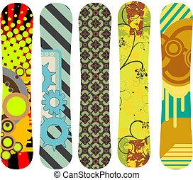 snowboard, pacco, disegno, 6